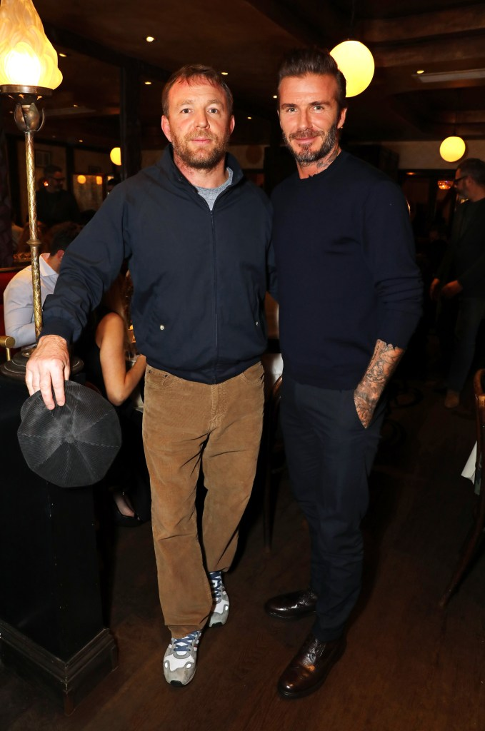 LONDON, ENGLAND - NOVEMBER 16: Guy Ritchie (L) and David Beckham attend the Kent & Curwen dinner with Mr Porter at Little Social on November 16, 2016 in London, England. Pic Credit: Dave Benett