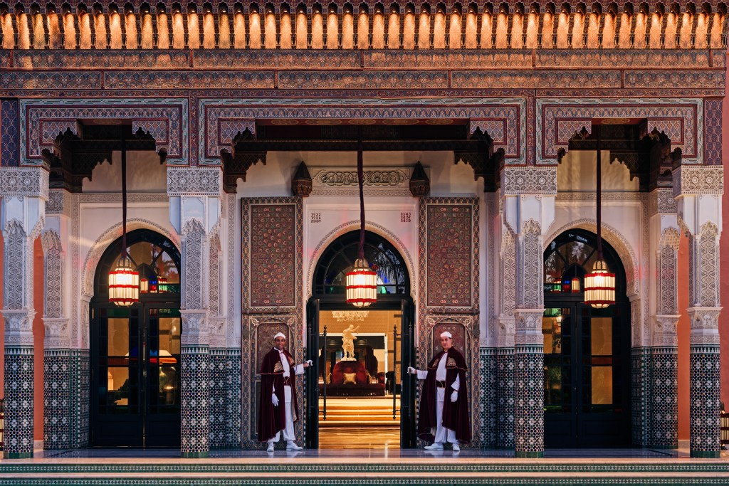 Entrance to the Hotel, La Mamounia Hotel, Marrakech, Morocco. Photo by Alan Keohane www.still-images.net for La Mamounia