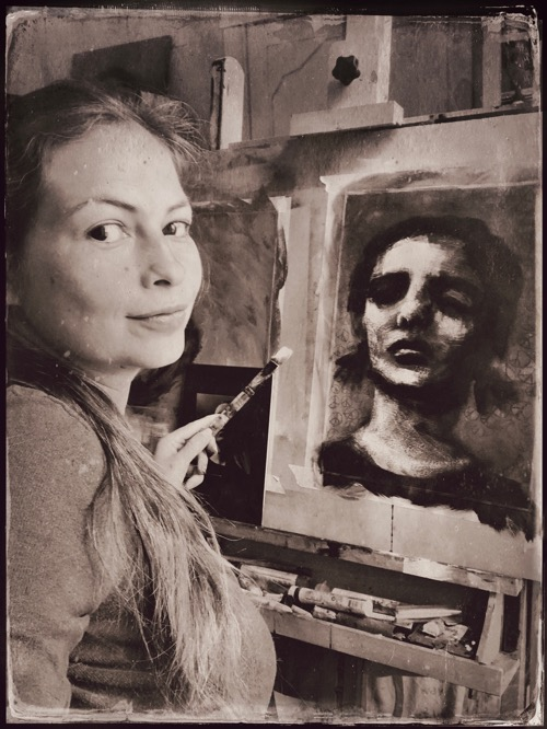 Jerney Marisha at the easel