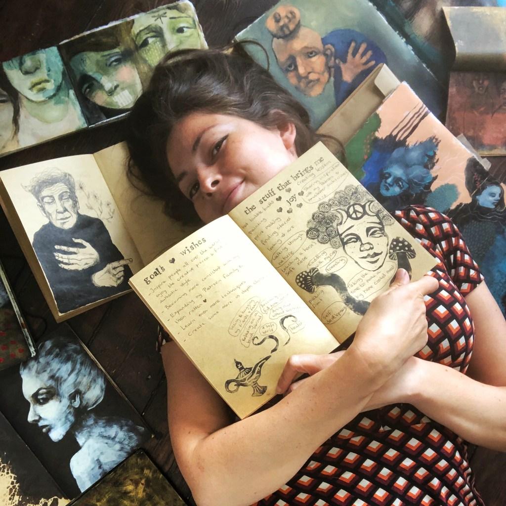 Me bathing in my artjournals