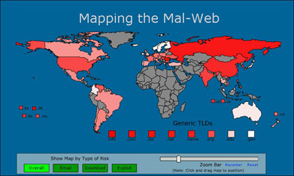 McAfee's SiteAdvisor conducted a study designed to alert the public to the problem of Malware and its sources.  Click the map for the full study.