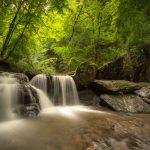 Imposante waterval op de Ehrbach, een riviertje in de Duitse Hunsrück. Het water stort zich in verschillende richtingen over de rotsblokken naar beneden. De lange sluitertijd geeft extra dynamiek aan het snel bewegende water. Het zonlicht zorgt voor een frisgroen bladerdek in het bos in de achtergrond.