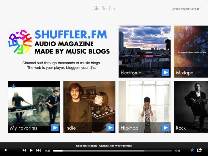 Shuffler.fm: content curation door bloggers