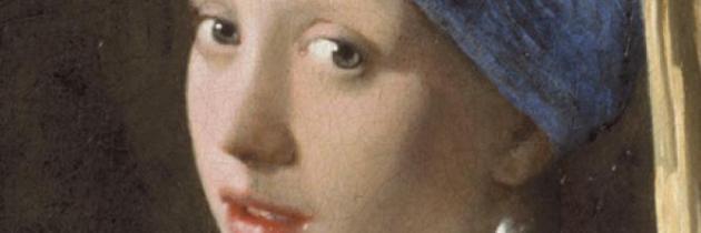 Vermeer's Meisje met de Parel gevingerverfd op een iPad