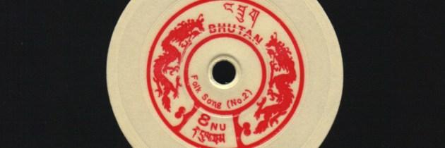 Postzegels uit Bhutan als draaibare mini-lp's