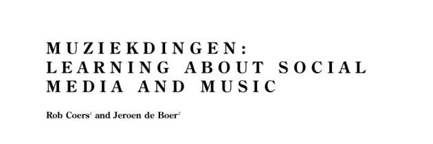 Artikel Muziekdingen in Fontes Artis Musicae