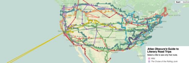 Literaire roadtrips op de kaart vastgelegd