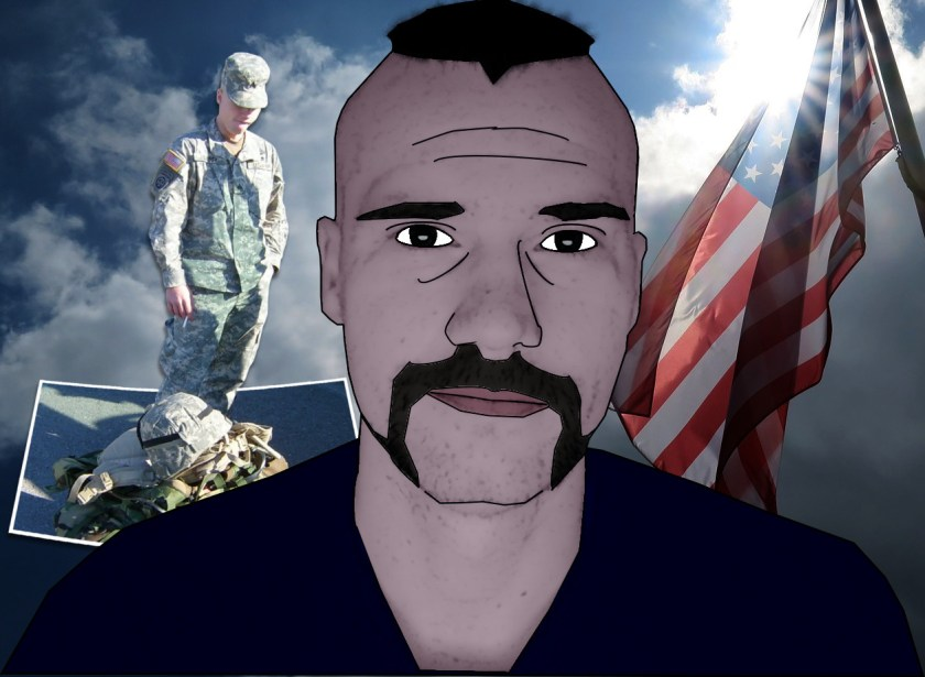 Jerokiah veteran cartoon with soldier and flag background