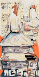 """""""Stairs"""" 48"""" x 24"""" Oil and Mixed Media on Canvas"""