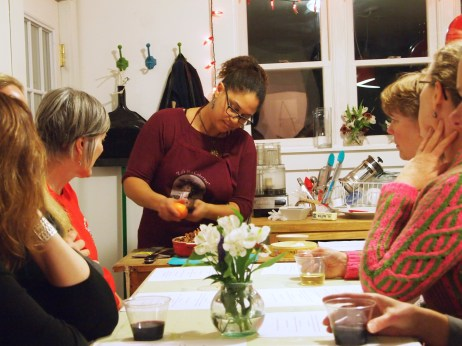 Tanya Howard demonstrating proper appetizer etiquette