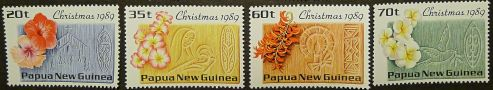 Papua New Guinea stamps - flowers of PNG: hibiscus; frangipani, New Guinea Creeper, Mucuna bennettii & white frangipani