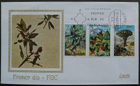 Spain, Myrica faya, Ilex canariensis, Dracaena draco, first day cover, 1973