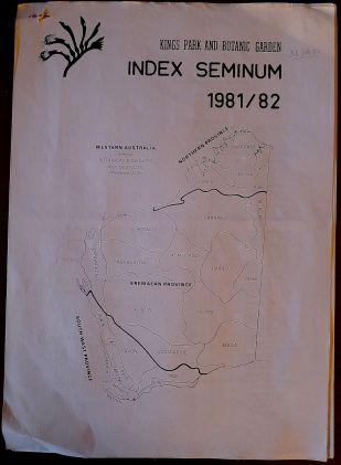 Seed List, Kings Park, Western Australia, 1981-82