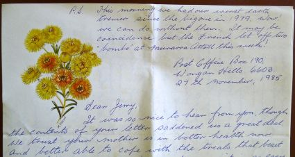 Correspondence from Mary Smith, advising of an earthquake, 27.11.1987