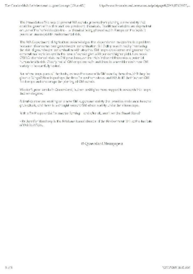 Pro-GM Opinion - 2, Jennifer Marohasy, Courier Mail November 2005