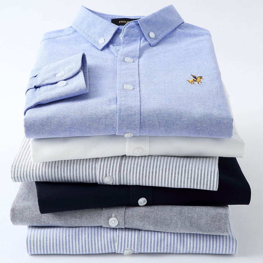 Details about  /Casual Pure Cotton Oxford Mens Shirts Long Sleeve Embroidery Logo Design Regular