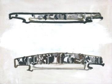 Attempt to Paint 2 Bridges, 46,5 x 31 cm, robot, oil on canvas, 2015