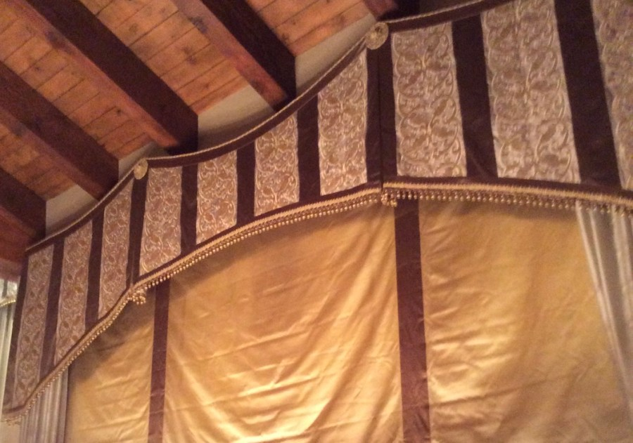 Drapery. Four fabrics on one window opening.