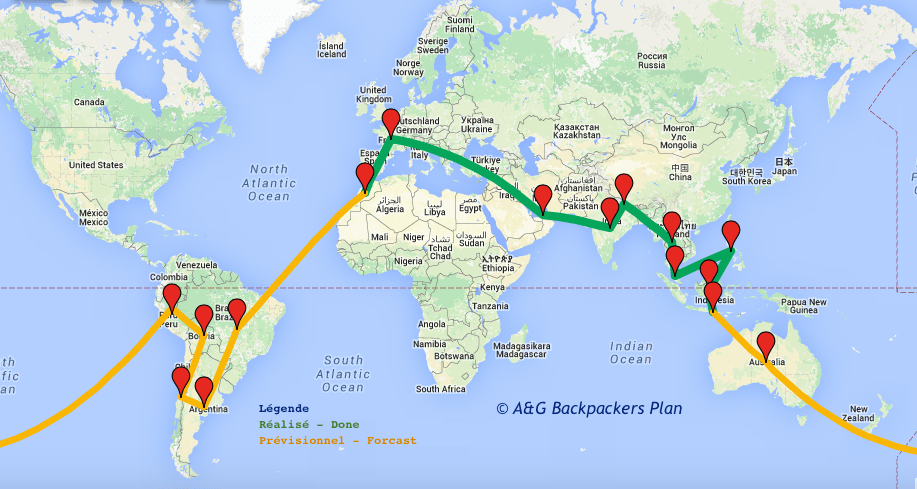 Round world Itinerary - Itineraire tour du monde