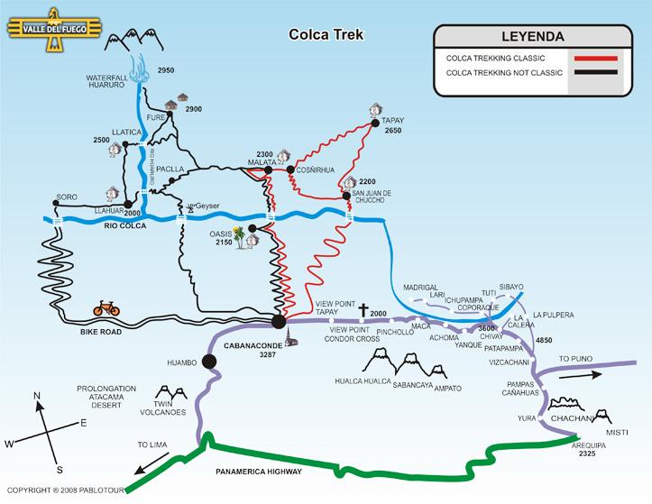 Carte Canyon Colca Arequipa Perou