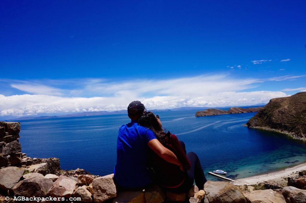 Vue sur le lac titicaca Copacabana Isla Del Sol