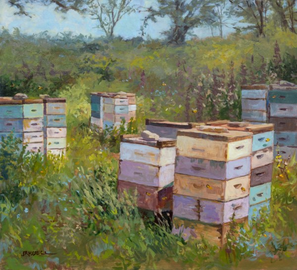 """Bee Boxes •Acrylic on Panel •18"""" x 17.75"""" •2014"""