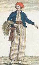 Jeanne Baret vestida de marinero.  Dibujo de 1817. Fuente: Wikipedia