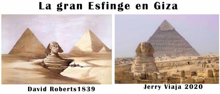 Comparacion de la esfinge en Giza en Egipto 2020 vs 1839