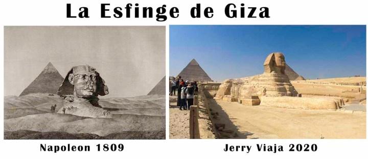Comparacion de la esfinge en Giza en Egipto 2020 vs 1809