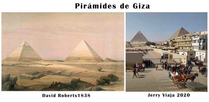 Comparacion de las piramides en Giza, Cairo, en Egipto 2020 vs 1838