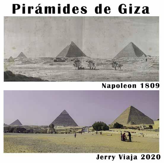 Comparacion de las piramides en Giza, Cairo, en Egipto 2020 vs 1809
