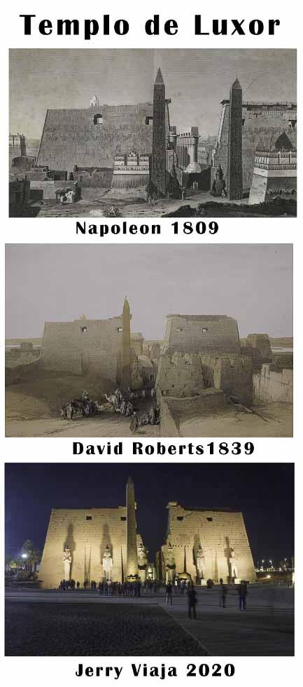 Comparacion del templo de Luxor en Egipto 2020 vs 1838 vs 1809