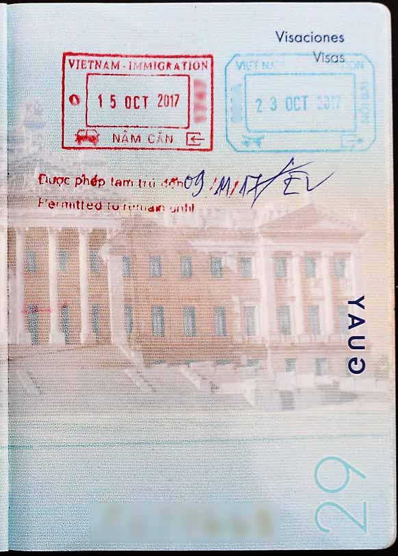 sellos para entrar a vietnam en el pasaporte