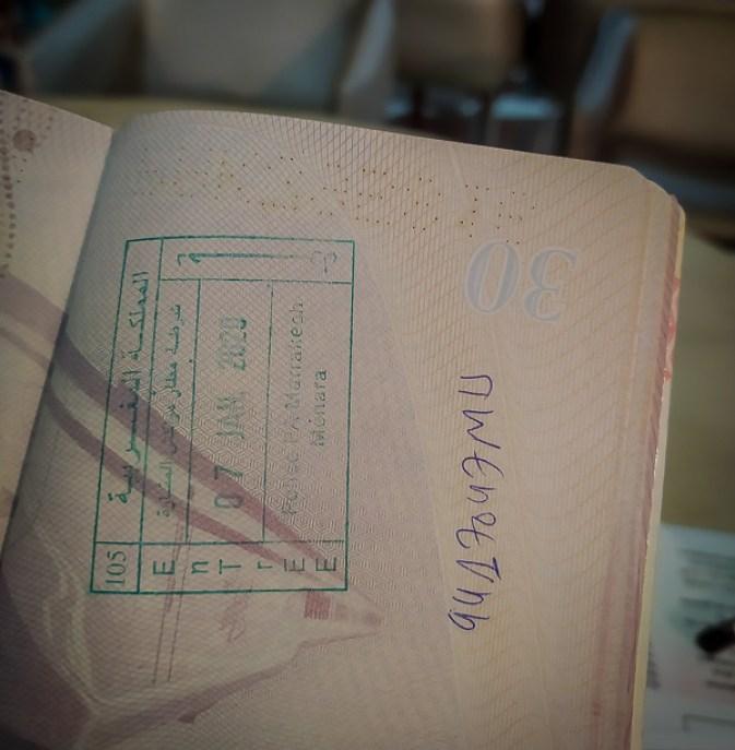 Sello de entrada a Marruecos en el pasaporte