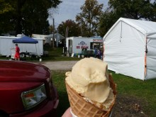 Persimmon Ice Cream with the John Deere Diesel ice cream maker in the background