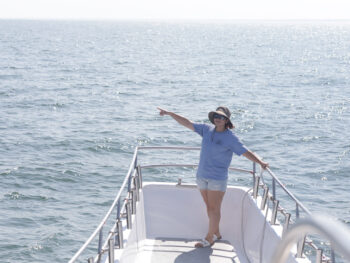 Our resident naturalist Danilelle Brown point the way. She is working on her PHD at Rutgers in Marine Biology and loves whale research