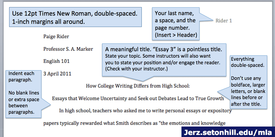 Mla format research essay example