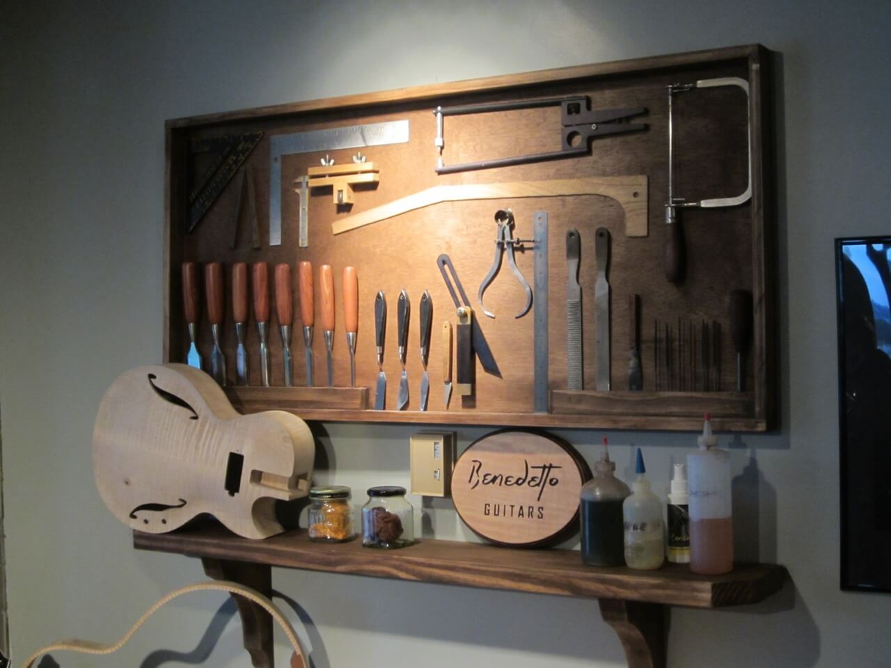 I don't know why i didn't take any photos showing the insides of guitars, but this display of luthier tools speaks to the nature of the craft.