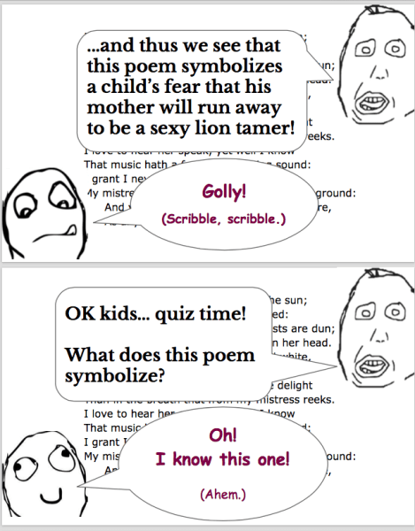 Understanding Sonnet 130: Welcome to Literature Class (Panels 3 & 4 of 6)