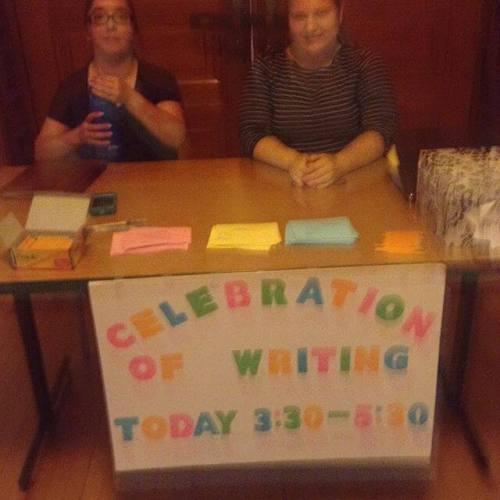 Celebration of Writing -- a big presentation day for freshman writing classes.