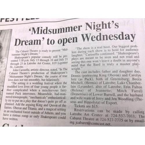 Midsummer opens tomorrow.