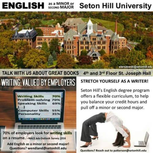 Talk with us about books! English as a minor or second major @setonhilluniversity