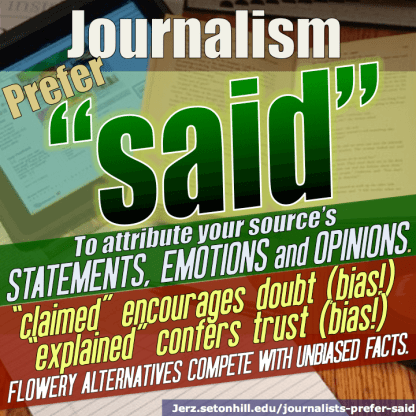 "Journalists prefer the word ""said."""