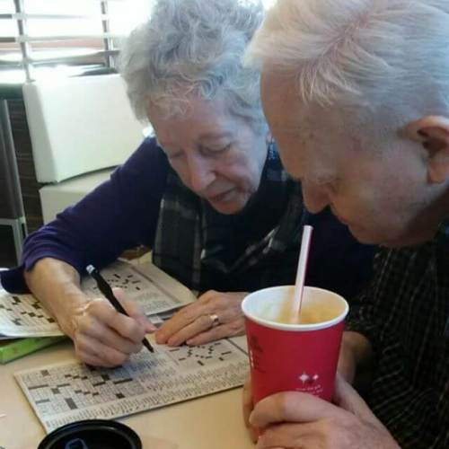 My parents doing their daily crossword.
