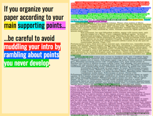 If you organize your paper according to your main supporting points, be careful to avoid muddling your intro by rambling about points you never develop.