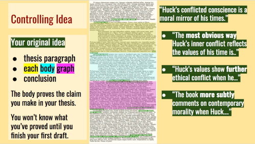 "Your original idea thesis paragraph each body graph conclusion The body proves the claim you make in your thesis. You won't know what you've proved until you finish your first draft. ""Huck's conflicted conscience is a moral mirror of his times."" ""The most obvious way Huck's inner conflict reflects the values of his time is.."" ""Huck's values show further ethical conflict when he…"" ""The book more subtly comments on contemporary morality when Huck…."""