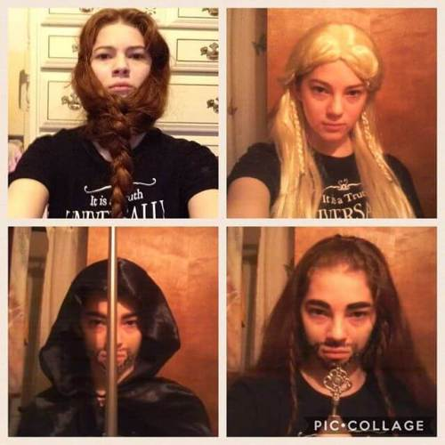 The girl as Gimli, Legolas, Aragorn and Thorin. #proudofthegirl #notentirelysurewhy #stillproud