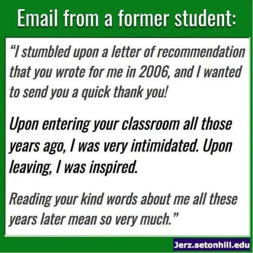 A former student contacted me to share her thoughts.