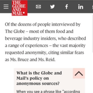 Screen shot of a Globe and Mail news article that uses an anonymous source, with an expandable inline explanation of how and why journalists use anonymous sources.
