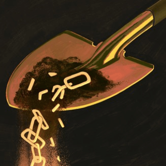 Illustration of glowing chain links in a shovel of dirt.